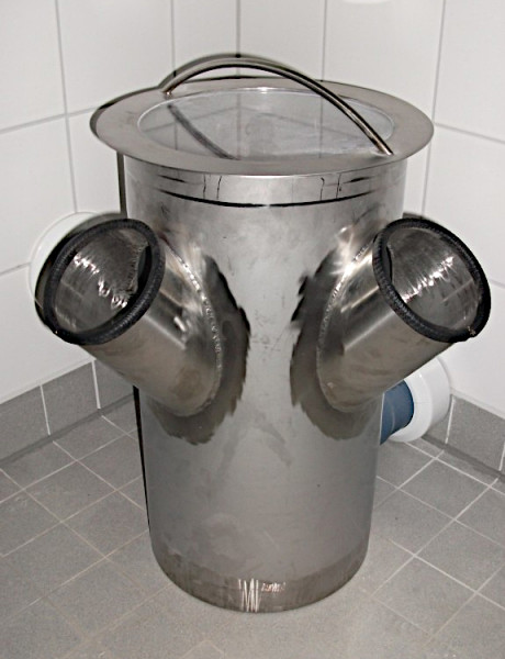 Fäkalien-Auffang-Prüfbehälter - Seitenansicht