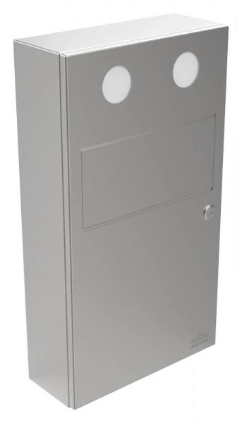 Edelstahl Hygienebeutel-Abfallbehälter 9110107 mit Schwingklappe und 2 Polybeutelspendern